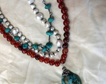 Boho multi-strand turquoise, pearl, red agate & leather necklace