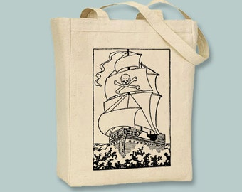 Vintage Pirate Ship drawing Canvas Tote -- Selection of sizes available