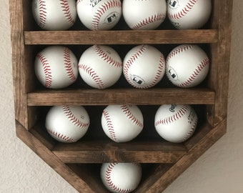 Baseball Display, Baseball Shelf, Baseball Display Shelf, Home Plate Baseball  Shelf, Home