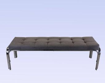 Mid Century Chrome & Velvet Bench - 1960s Bench - Chrome Bench - Gray Velvet Bench