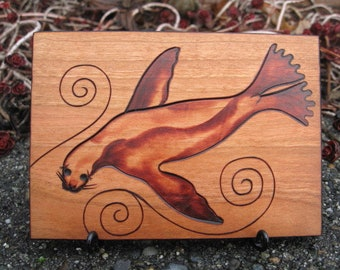 Sea Lion on ATC sized Cherry Wood Tile Pyrography Wood Burning