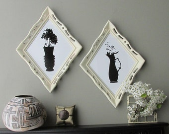 wall collage - Vintage Silhouettes -2 pc vintage  wall art