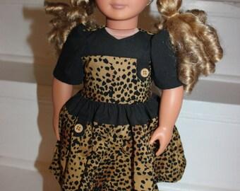 18 inch Doll Dress,Doll Dress,Leopard Print Doll Dress,Dress,AG Dress,Hand Made Doll Dress,American Made Doll Clothes