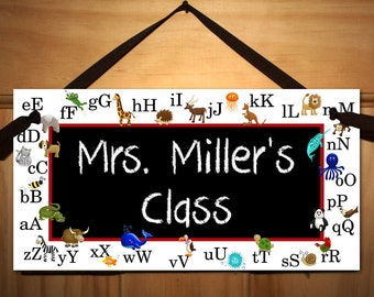 Teacher's Animal Alphabet Classroom DOOR SIGN Present Gift TDS003