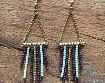 Beaded Boho Earring - Purple, Gold and White