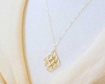Gold Filigree Necklace - Gold Knot Necklace, Filigree Pendant Necklace, Long Necklace, Gold Necklace, Dainty Necklace, Layering Jewelry