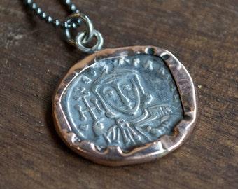 Pendentif argent Collier en or rose, collier unique, collier, bijou, bijoux déclaration, collier Bohème - Epic N2016 de pièce