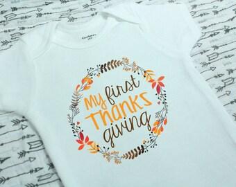 My First Thanksgiving Onesie®, Cute Baby Clothes, Baby gift, First Thanksgiving, Fall onesie, Autumn, Holiday onesie, Baby onesies.