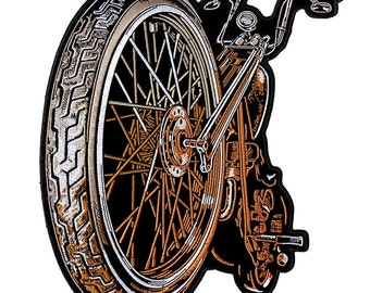 """BIG WHEEL, High Thread Embroidered Iron-On / Saw-On Rayon PATCH - 9"""" x 11"""", Exceptional Quality"""