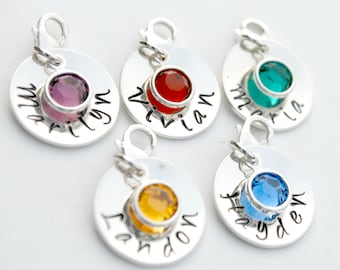 Bracelet Name Charm with Birthstone - Personalized Hand Stamped Name Charm for Bracelet Sterling Silver - Custom Bracelet Charm with Crystal