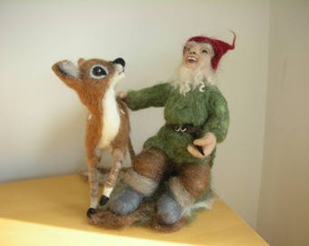 Needle Felted Gnome And Faun Free Delivery In The UK