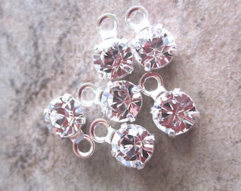 Drops - Lot of 6, Swarovski Crystal and Silver-Plated Brass, Crystal Passions, Crystal Clear, Foil Back, 8.16 - 8.41mm round - JD162