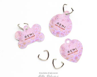 Dog Tag Pink Marble Pet Tag Personalized Dog Tag Pink Marble Print Pet Tag Dog ID Tag Marble Print Pet Tag Puppy Tag Dog Pet Tag 126.