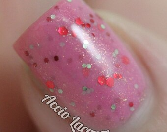 Cherry Festival - 15 ml - pink crelly polish with red and green glitter and gold shimmer - indie polish by ALIQUID Lacquer