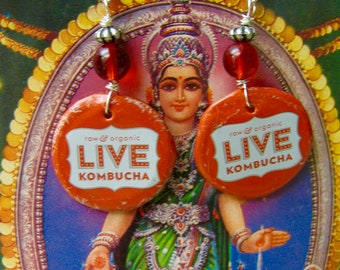 Live Kombucha Recycled bottle cap earrings, Upcycled bottle cap earrings, Recycled Kombucha bottle cap earrings