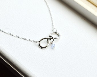 Silver Infinity Necklace- Swarovski Crystal Bead- Personalized Gifts-  Birthstone Color- Customizable- Sterling Silver or Silver Tone Chain