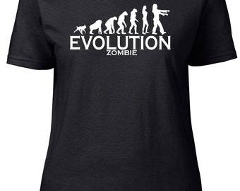 Evolution to Zombie. Ladies semi-fitted t-shirt.