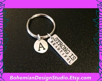 Fitness keychain, personalised initial A charm, strong is beautiful charm, gym keyring