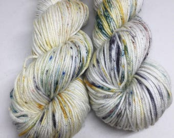 Hand dyed sparkle DK weight superwash yarn, perfect knitting hats, mittens and more, indie dyed yarn, Hand dyed knitting yarn