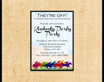 Kentucky Derby Invitations / 5x7 YOU PRINT / Run for the Roses / Horse Race Betting Slips / Churchill Downs Preakness Belmont Stakes /
