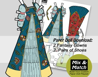 Renaissance Princess Paper Doll Dresses- Digital Paper Doll Clothing Download- Printable Paper Doll Dress- Renaissance Paper Doll Costumes