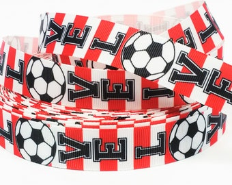 """7/8"""" inch LOVE SOCCER Red and White Stripes Sports Printed Grosgrain Ribbon for Hair Bow - Original Design"""