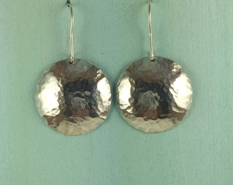 Hammered Sterling silver dome earrings