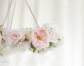 Flower Nursery Mobile, Floral Nursery Mobile, Floral Nursery Decor, Blush Nursery Decor, Pink Nursery, Flower Chandelier, Floral Chandelier