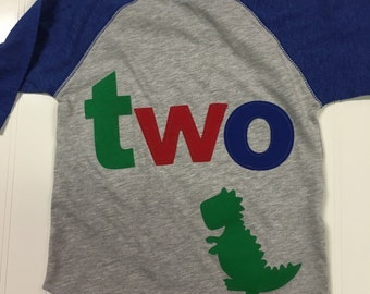 TWO t rex birthday t shirt, boys dino birthday shirt, 2nd birthday dinosaur shirt, reglan style shirt