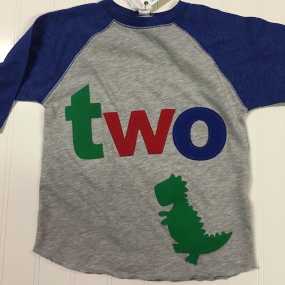 TWO t rex birthday t shirt, boys dino birthday shirt, 2nd birthday dinosaur shirt, reglan style shirt