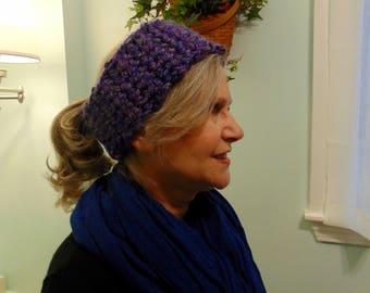 "Adjustable, flannel lined, winter headband. ""Purplicious"" design"