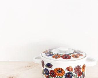 Vintage 1970's casserole trinket jewellery dish with lid - Japan