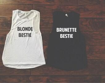 Blonde/ Brunette Bestie Muscle Tank