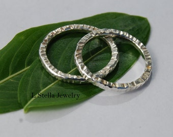 Hammered Stackable Bands Sterling Silver Rings 2mm textured on 3 sides