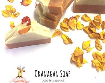 Rose & Grapefruit Soap - Luxurious handmade rose petal artisan soap - All natural - Rose petal romanic soap - Organic Soap - Vegan Soap