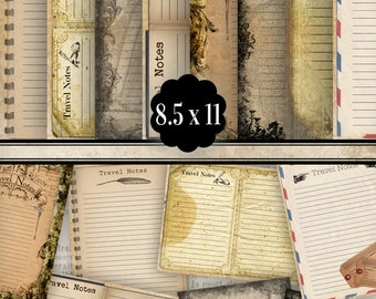 Journal Pages printable junk journal pages paper crafting scrapbook embellishment 8.5 x 11 inch instant download collage sheets - VDPAVI1012