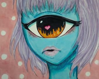 Cyclops Kigurumi Kig Fantasy Alien Anime Big Eye Marker Drawing Original Fan Art - 11 x 8.5