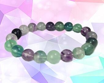 Fluorite Rainbow Stretch Bracelet