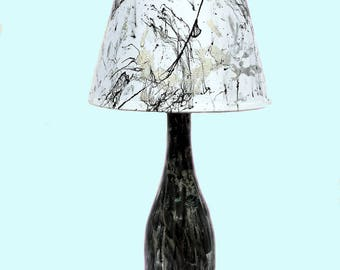Abstract Black, Silver and White accent table lamp, upcycled wine bottle, hand-painted, Free shipping