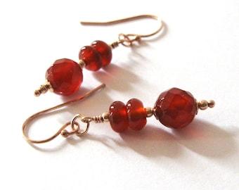 Red Carnelian Dangle Earrings, Rose Gold Filled Gemstone Earrings, Ear Wire Options Available
