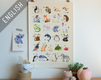 ABC poster, A to Z, abc animals, animal alphabet, alphabet print, alphabet art, abc nursery, abc art, alphabet poster, Watercolor, wall art