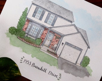 Custom Watercolor House Portrait // Original personalized home or business painting