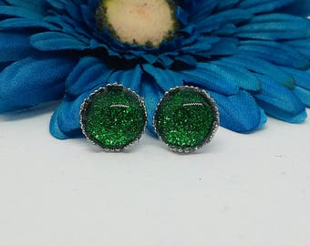 Green Stud Earrings, 12mm Earrings, Nail Polish Jewelry, Gifts for Teens, Nail Polish Studs, Handpainted, Stainless Steel, Emerald, Green