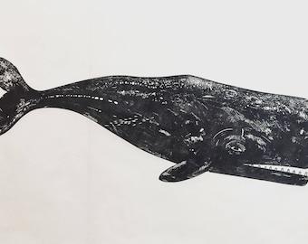 Whale linocut - original print
