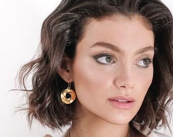Gold Dangle Earring, Gold Drop Earring, Round Earring, Round Drop Earring, Unique Dangle Earring, Golden Earring, Gold Round Earring, Celtic