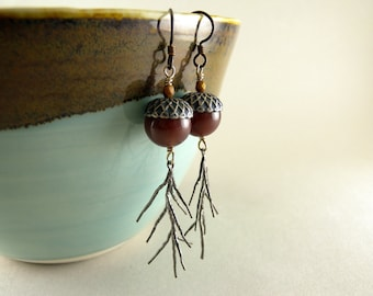 Auburn Red Jasper Stone Acorns and Silver Pine Needles Earrings with Free USA Shipping