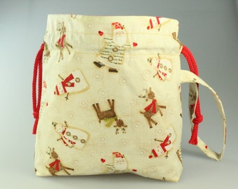 Snowman's Friends Drawstring Bag/ Pouch with Wrist strap