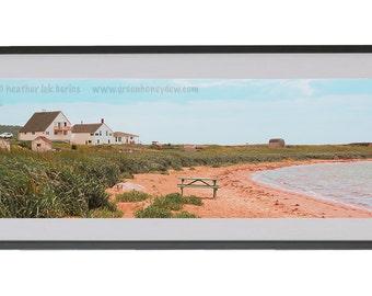 Romantic Panoramic Photography - Wall Decor - Fine Art Photography Print - Red Sand, Grassy, Seaside, Beautiful Landscape