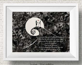 The Nightmare Before Christmas 1 inspired, Jack and Sally, Quote, Watercolor print,Nursery art, Kids Room Decor, Poster, print
