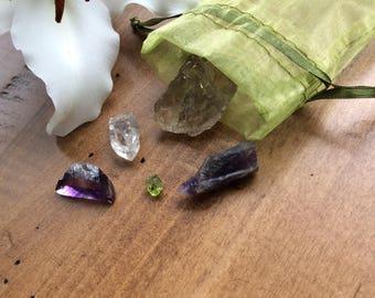 Psychic Protection Crystal Care Kit, Raw Healing Crystals & Stones, Smoky Quartz, Amethyst, Peridot, Quartz Point, Purple Fluorite, Mojo Bag